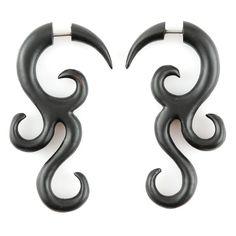 "Fake Gauge Earrings - Wood Tribal Earrings Fake Piercing - Sono Wood ""Magic Black Vine"" Spiral Earrings - Wood Jewelry - pinned by pin4etsy.com"
