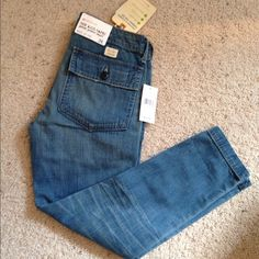 """NWT, AG Jean Patch Pocket Denim Capri's! NWT, AG Adriano Goldschmied patch pocket lightweight capris. Truly the perfect staple for many occasions. AG Jeans cut in a boyish or looser silhouette. Single button closure. Patch back pockets. 8 3/4"""" Rise, 14 1/2"""" Leg Opening, Inseam 24""""  Brand new, never worn, with tags. Size 24. No trades AG Adriano Goldschmied Jeans Ankle & Cropped"""