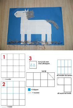 Met een wit vouwblaadje 16 vakjes vouwen. De ene helft wordt het lijf en uit de andere helft worden het hoofd, de benen en de oren geknipt. Met wat grijze wol geef je het paard van Sinterklaas manen en een staart. Plak nog wat hooi bij zijn benen en klaar is het paard van Sinterklaas. School, Creative, Projects, Crafts, Art, Log Projects, Art Background, Blue Prints, Manualidades