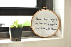 Create Your Own Bookish Hoop Art