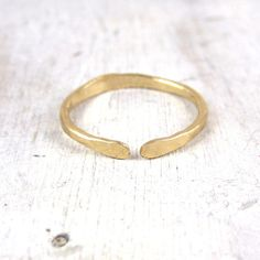 Simple Forged Gold Open Stacking Ring Thick Forged by failjewelry, $34.00
