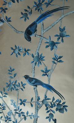 Exquisite hand painted wallpaper, hand painted fabrics, Nsr nsrhandcrafts presenting better hand painted wallpaper, chinoiserie wallpaper for you. Hand Painted Wallpaper, Hand Painted Walls, Wall Wallpaper, Silver Wallpaper, Painting Wallpaper, Chinoiserie Wallpaper, Chinoiserie Chic, Chinese Wallpaper, Art Decor