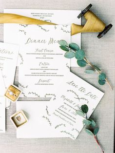 Greenery styled rustic wedding invitation suite: Photography : Nancy Ray Photography | Stationery : Rebecca Rose Creative Read More on SMP: http://www.stylemepretty.com/little-black-book-blog/2017/01/04/simple-rustic-wedding-inspiration-shoot/