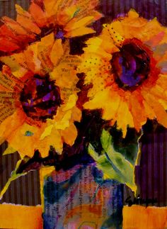 Sunflower Trio by Carol Nelson Take a close look at this one.