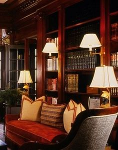 Library lights. Interior: Bunny Williams   ........................................................ Please save this pin... ........................................................... Because For Real Estate Investing... Visit Now!  http://www.OwnItLand.com