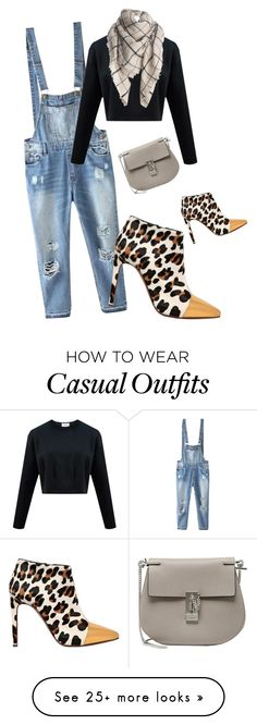 """casual day. overall denim sweater boots and bag with scarf"" by kohlanndesigns on Polyvore featuring Relaxfeel, Chloé, Marni, fashionset, casual, denim and ootd"