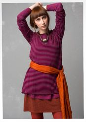 Striped tunic in eco-cotton/wool