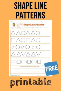 With this FREE printable, kids finish the patterns by drawing the shape that comes next then create a pattern of their very own. Math Patterns, Line Patterns, Printable Math Worksheets, Free Printable, Printables, Education Quotes For Teachers, Kids Education, Pattern Worksheet, Math Place Value