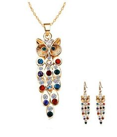 Colorful Delicate Crystal Inlaid Owl Pendant Necklace Earrings Jewelry Set,Owl Earrings,Owl,Owl Jewelry,Harry potter owl earrings