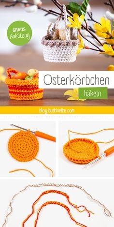 DIY Easter: crochet mini Easter baskets yourself - DIY-Ostern: Mini-Osterkörbchen selbst häkeln Fancy a DIY Easter project? Diy Jewelry To Sell, Diy Jewelry Holder, Diy Jewelry Making, Diy Projects Easter, Crochet Projects, Easter Crafts, Crochet Easter, Crochet Diy, Diy Osterschmuck