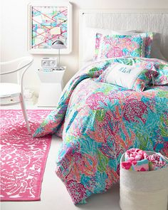 Lilly Pulitzer® Party Favors Cotton Printed RUG! + Let's Cha Cha Duvet Cover | via Garnet Hill Dorm