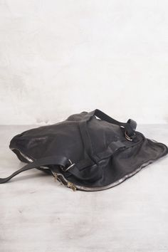 88GUI BLACK SOFT HORSE LEATHER FG MESSAGER BAG by Guidi