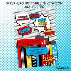This listing is for a printable superhero birthday invitation personalized with your event details. You will receive a high resolution 300dpi