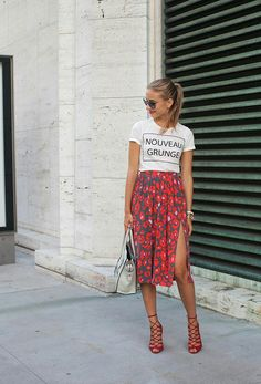 graphic tee + printed skirt