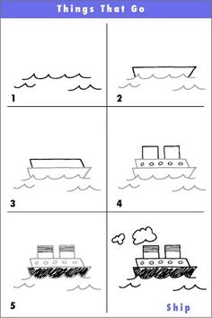 heres another 6 step drawing of a fun ship if you like your ship when youre finished try drawing another boat behind it that the ship is towing