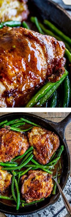Asian-Seared Chicken with Stir Fried Green Beans from The Food Charlatan. This Asian chicken is marinated in baking soda to get the most tender chicken of your life! And also the crispiest skin. Stir fry some green beans in a quick sauce and you are well on your way to an amazing low carb meal! Dinner at it's best. Serve with brown rice or cauliflower rice.