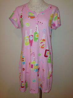 Sleepshirt Regular Cotton S Sleepwear & Robes for Women Nick And Nora Pajamas, Soda Bottles, Pajama Shirt, Sleep Shirt, Night Gown, Sleeve, Cotton, Pink, Shirts