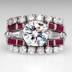 2 Carat Diamond Ring 14K White Gold w/ Ruby Accents