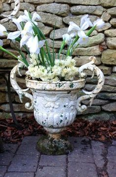 Pair of 19th Century Victorian Cast Iron Garden Urns with Scrolling Handles available from Hutchison Antiques WWW.HUTCHISONANTIQUES.COM