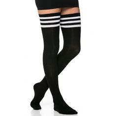Collegiate Striped Thigh High Socks in Black ($15) ❤ liked on Polyvore featuring intimates, hosiery, socks, accessories, shoes, black, legs, striped thigh high socks, stripe socks and thigh high hosiery