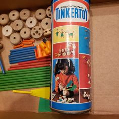 """Vintage - The Original Creative Tinkertoy """"Little Designer"""" Construction Set - No. 126 by JCMNATURALREMEDIES on Etsy Father's Day Specials, Lego Pieces, Canister Sets, Arizona Tea, Antique Items, Drinking Tea, Tin, Construction, The Originals"""