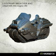 This set contains one high quality resin Legionary Breacher Bike armed with twin magma rifle. Designed to fit futuristic 28mm heroic scale heavy armoured troopers. As an additional parts you get biker legs and arms which you can combine with Legionaries torsos, heads, shoulder pads and backpacks sold separately.
