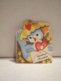 Vintage Valentine Anthropomorphic Bluebird Card