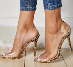 Sexy New PVC Transparent Leopard Grain Pumps Heel Stilettos High Heels Women - Shoes Lace Up Heels, Pumps Heels, Stiletto Heels, Flats, Wedge Heels, Black Heels, Black Boots, Manolo Blahnik Heels, Giuseppe Zanotti Heels