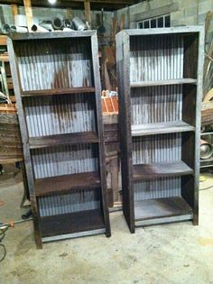 The best DIY projects & DIY ideas and tutorials: sewing, paper craft, DIY. DIY Furniture Plans & Tutorials : Barn wood and corrugated metal book shelves -Read Pallet Furniture, Furniture Projects, Rustic Furniture, Home Projects, Repurposed Furniture, Antique Furniture, Industrial Furniture, Outdoor Furniture, Furniture Online