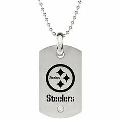"""Pittsburgh Steelers Official NFL Logo Dog Tag Necklace with CZ, 27"""" The Men's Jewelry Store. $56.88. NFL Dog Tag Necklace with a Bezel-set 4.00mm Cubic Zirconia Gemstone. 316L Stainless Steel is Hypoallergenic and Gentle on Sensitive Skin. Pittsburgh Steelers Football Logo Etched in Black Enamel. Officially Licensed NFL Fine Jewelry. Steelers Dog Tag is 45.50mm by 26mm. Save 35% Off!"""