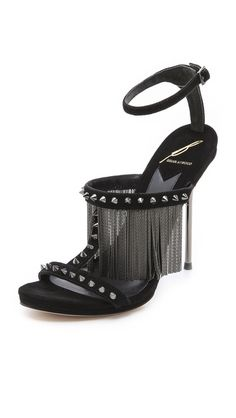 B Brian Atwood 'Moultrie' Black Metal Fringe Sandals €374 #Shoes #Heels