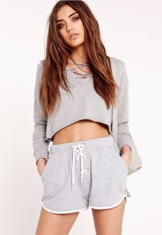 Lace Up Loopback Jersey Shorts Grey - Missguided