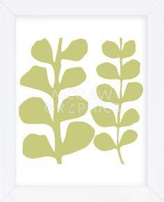 Green Fern on White (Framed)
