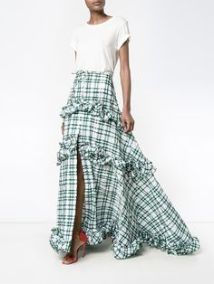Shop Rosie Assoulin ruffle gingham tiered skirt from our A-Line Skirts collection. Brian Atwood, Skirt Outfits, Chic Outfits, Fashion Outfits, Fashion Trends, Tiered Skirts, Missoni, Lanvin, Skirt Fashion