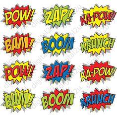Superhero Comic Photo Booth Props Masks 32 props DIGITAL DOWNLOAD DIY Ironman…