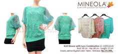 Knit Blouse with Lace Combination (1-12091014)  Price: Rp.235.000,- Color: Cream, Salmon, Green     Material: Knit + Lace.  Measurement: Bust: 90cm - Hip: 84cm - Length: 57 cm    For question and ordering please call our CS (Emil) directly at:  - 0852.8558.5868 or (021) 9293.8337  - Blackberry PIN: 26FFFFD2 (working hour)    の場合は在庫状況とご注文通話/ SMSたちCS1してください::0852.8558.5868 / 021から92938337(エミール)を、私たちのを追加します。BB PIN 26FFFFD2
