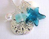 Seafoam Seaglass Leaf Necklace: Beach Wedding Jewelry. $23.00, via Etsy.