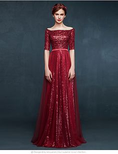 A-Line Bateau Neck Floor Length Tulle Sequined Prom Formal Evening Dress with Sequins by DRRS