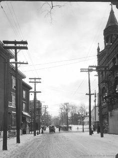 Sherbrooke St. looking West at St. Lawrence : Before / S.J. Hayward . - 14 février 1927 - Archives de Montréal