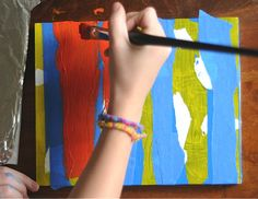 Abstract painting with painters tape.