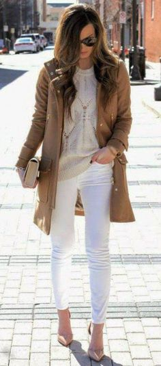 #fall #fashion / camel coat + beige knit