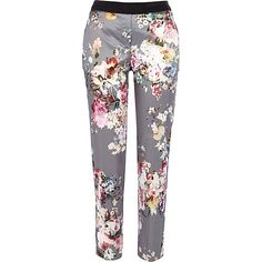 Grey floral print satin trousers - cigarette trousers - trousers - women