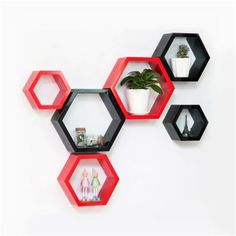 Buy Desi Karigar Wall Mount Shelves Hexagon Shape Set of 6 Wall Shelves - Red
