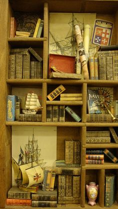 Miniature Library miniature thematic nautical by bagusitaly Mini Library, Little Library, Shadow Box Art, Tiny Dolls, Diy Clay, Miniture Things, Miniature Dolls, Dollhouse Miniatures, Crafts