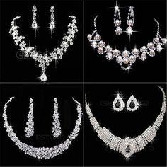 El Tono de plata de Cristal de Fiesta de La Moda de Las Mujeres de la Boda Joyería Nupcial Del Rhinestone Cristalino Del Pendiente Del Collar de Regalo
