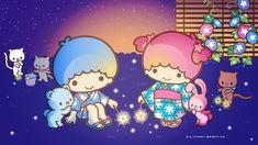 Little Twin Stars Wallpaper 2019 八月桌布 日本官方Twitter夏夜版 My Melody Wallpaper, Sanrio Wallpaper, Star Wallpaper, Little Twin Stars, Sanrio Characters, Cute Characters, Star Cloud, Star Party, Art N Craft