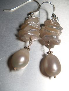Keshi pearl earrings by arionjewelry on Etsy
