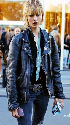 #REVUU daily fashion editorials curated from the most provocative magazines, blogs, & photographers! #black #leather #street #fashion Olivia Palermo