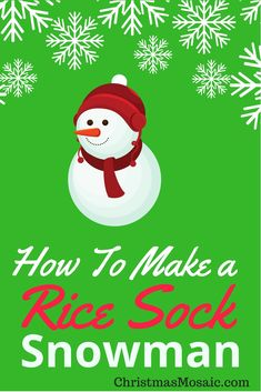 I came across this absolutely delightful tutorial on how to make a rice sock snowman. Christmas Snowman, Christmas Holidays, Christmas Crafts, Christmas Ornaments, Christmas Ideas, Diy Snowman Decorations, Christmas Decorations, Holiday Decor, Holiday Ideas