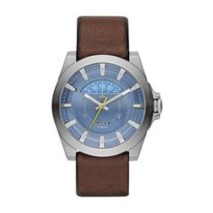 Diesel gents watch from the Arges collection with round stainless steel case, brown leather strap fastened by pin and buckle and blue dial. Diesel Watches For Men, Bracelets Bleus, Brown Leather Strap Watch, Leather Case, Mens Watches Leather, Blue Band, Watch Sale, Cool Watches, Unusual Watches